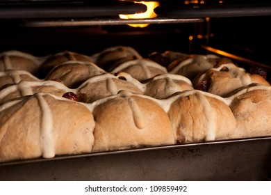 Tray of fresh hot cross buns baking in oven