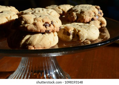 A tray of freshly baked chocolate chip cookies.