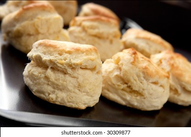 Tray of home-baked scones, straight from the oven.