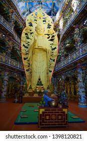 TRAY MIT, VIETNAM - DECEMBER 27, 2015: Sculpture of the Bodhisattva Avalokiteshvara (Goddess of Mercy)  in Chua Linh Phuoc Buddhist temple