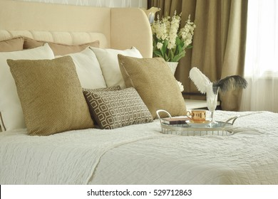 Tray on bed in classic style bedroom