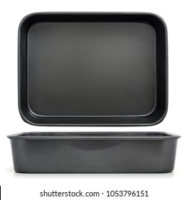 Tray for oven  / Empty baking tray isolated on white, view from the top and side view