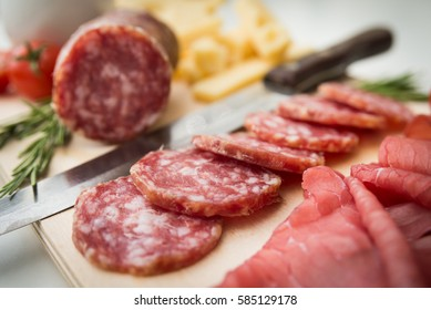 Tray of salami, bresaola and cheese, Italian Appetizers