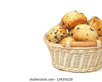 tray of spongy chocolate chip scones on white background