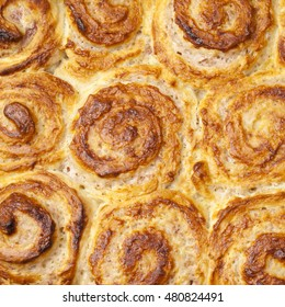 Tray of strawberry quark rolls food background