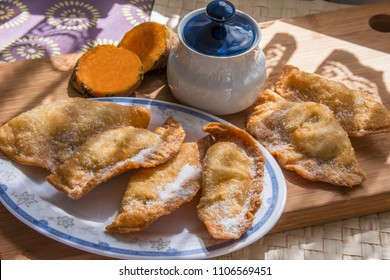 Tray with sweet potato trout, typical Tenerife sweets, Canary Islands