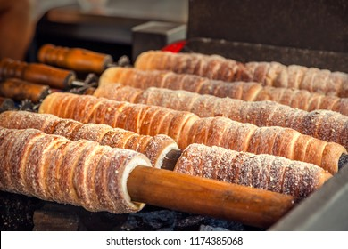 Trdelnik bakery on the street market in Prague, Czech Republic