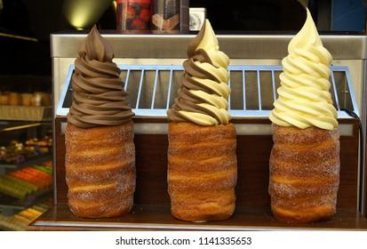 Trdelnik with cream and ice cream filling