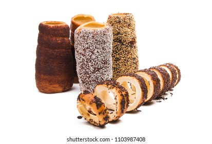 trdelnik - Czech twisted buns isolated on white background