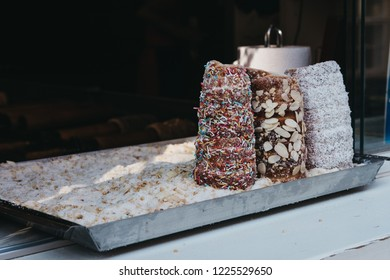 Trdelnik, sweet pastry popular in many European countries, on sale in Prague, Czech Republic.