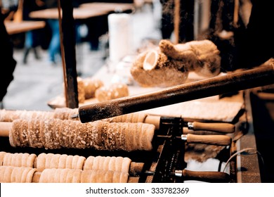 Trdelnik - traditional cake and sweet pastry from Czech Republic, Slovakia and Hungary