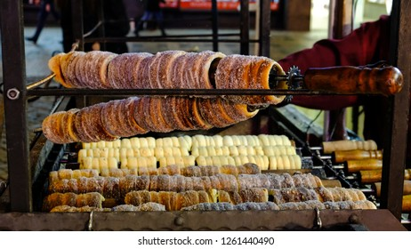 Trdelnik, a traditional Slovak sweet pastry, which is part of every Christmas market. Christmas Market on Wenceslas Square, Prague