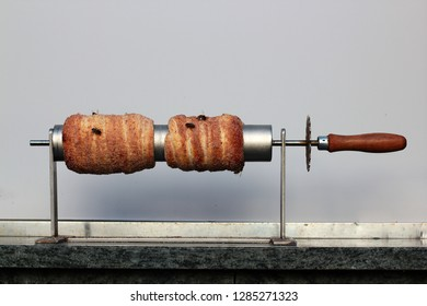 Trdlo or trdelnik and bees- traditional national Czech sweet pastry dough