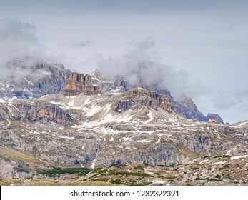 Tre Cime challet, May 26 2018. The Tre Cime round tour in spring time at beginning of season.