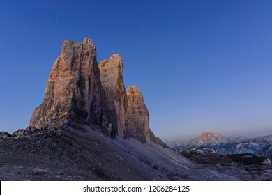 Tre Cime di Lavaredo - Drei Zinnen At the Evening Time - one of The most beautiful attraction of Dolomiti Alps  Italy