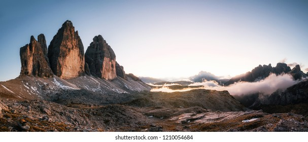 Tre Cime di Lavaredo or Drei Zinnen at sunset in the Dolomites in Italy, Europe