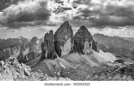 Tre Cime di Lavaredo (Drei Zinnen) black and white panorama