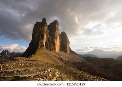 Tre Cime di Lavaredo, ITALY - July 8, 2018. Sunset at Tre Cime di Lavaredo, in the Italian Dolomites.