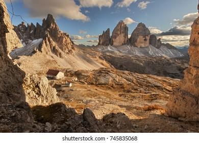 "Tre Cime di Lavaredo (or ""Drei Zinnen""), Dolomites (Italian Alps) at sunset."