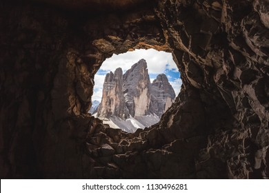 Tre Cime di Lavaredo Peaks from a cave post in the First World War, Dolomites, Italy, Mount Paterno, Dolomites, Italy