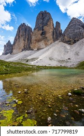 Tre Cime di Lavaredo and small lakes beneath Langalm