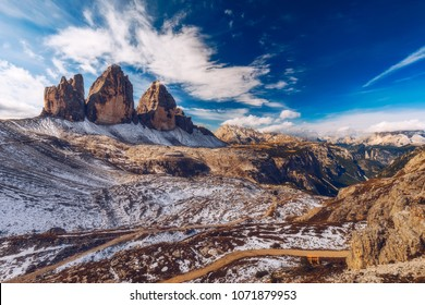 Tre Cime di Laveredo, three spectacular mountain peaks in Tre Cime di Lavaredo National Park, Sesto Dolomites, South Tyrol, Italy