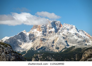 Tre Cime di Laveredo, three mountain peaks in Tre Cime di Lavaredo National Park, Sesto Dolomites, South Tyrol, Italy Alps