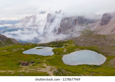 Tre Cime di Laveredo, three spectacular mountain peaks, as seen from the hiking trail 101 from Locatelli refuge to Lavaredo pass via Passaporto pass and to Auronzo refuge, Sesto Dolomites, Italy