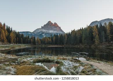 Tre cime di leverado at sunrise in the fall in northern italy europe.