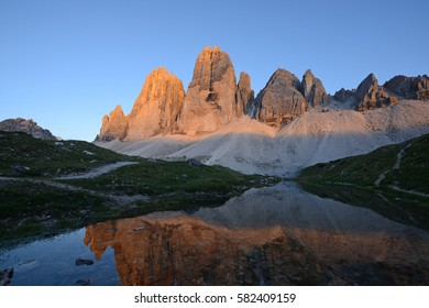 Tre Cime in Dolomite mountain in Italy