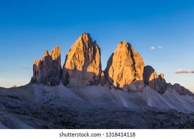 Tre Cime in Dolomite Natural park at sunrise, South Tyrol, Italy.