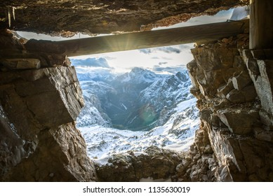 Tre Cime mountain view from the cave, Italian Dolomites Alps