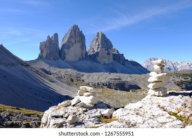 Tre cime national park panorama in the famous Dolomites on a beautiful blue sky day