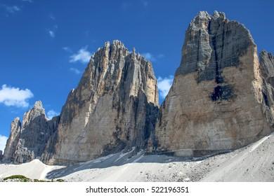 Tre Cime (Three Peaks) di Lavaredo (Drei Zinnen) , are three of the most famous peaks of the Dolomites, in the Sesto Dolomites, Italy, Europe