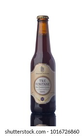 "Tre Fontane Trappist Beer Bottle Isolated White Background  ""illustrative editorial"""