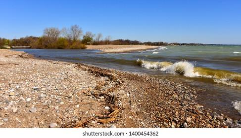 The treacherous area where the Pike River enters Lake Michigan causing severe under tow in Kenosha Wisconsin.