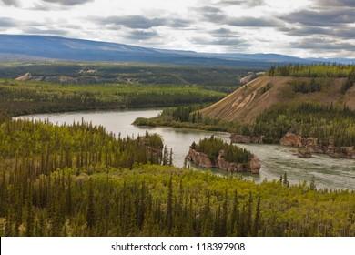 Treacherous Five Finger Rapids of the Yukon River near town of Carmacks, Yukon Territory, Canada