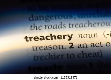 treachery word in a dictionary. treachery concept.