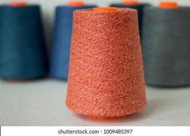 Tread on cone, yarn on tube, craft, sewing, knitting, crochet, handmade