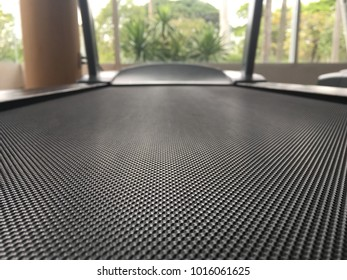 Treadmill belt in the fitness room, close up