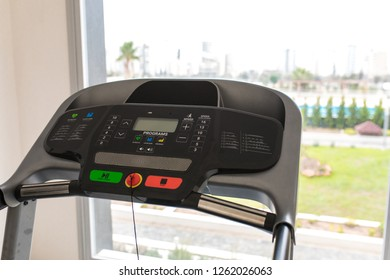 Treadmill in Gym. Exercise equipments. Apartment gym studio saloon.