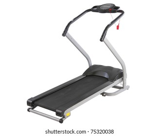 The treadmill running track machine for better health isolated on white