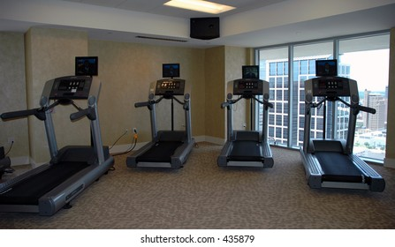 Treadmills in a exercise room
