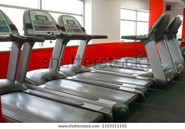Treadmills in a fitness hall