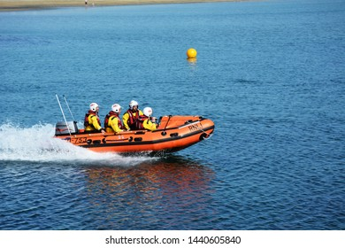 Trearddur bay D class inshore lifeboat taking part in training exercise on Anglesey in North Wales on 5 July 2018