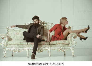 treason and resentment. resentment after a long day of treason. resentment of bearded man after treason with sexy woman. treason concept with couple has resentment