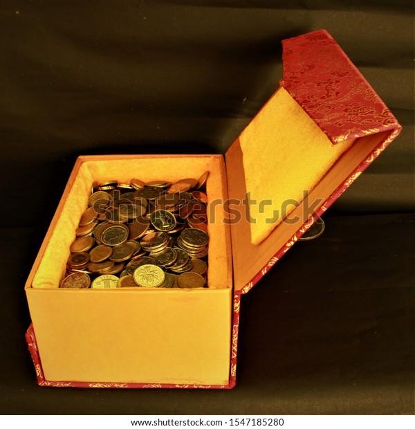 Treasure box, coin box , gift box, money