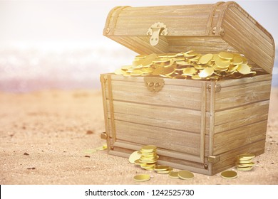 Treasure box with coins on background