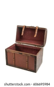 Treasure Box in vintage style on white background