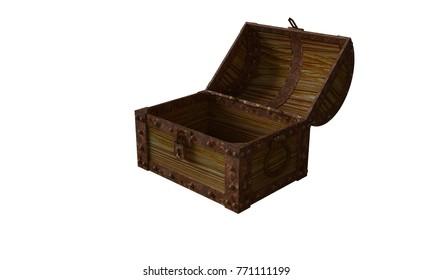 Treasure chest with treasure 3D rendering